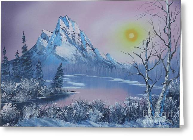 Bob Ross Paintings Greeting Cards -  Blue Winters Sunglow  Greeting Card by Bob Williams