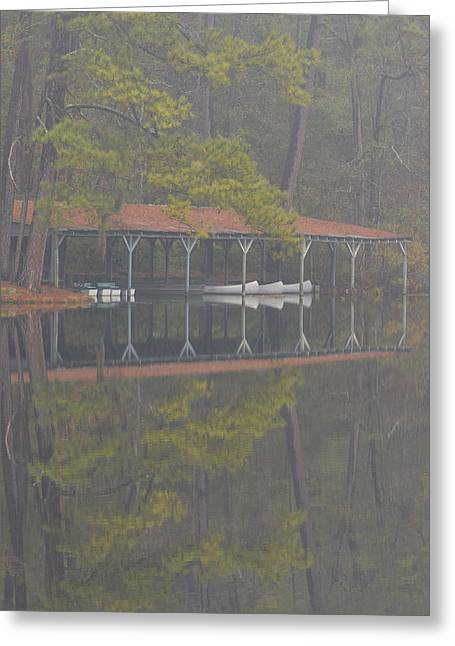Boats At Dock Greeting Cards -  Boat Dock Reflection Greeting Card by Alan Lenk
