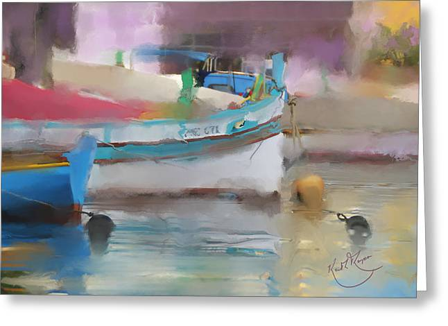 Impressionist Greeting Cards -  Boat Reflections Malta Greeting Card by Keith W Thompson