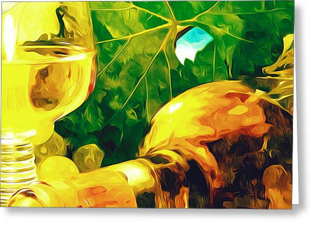 Red Wine Bottle Greeting Cards -  Bottle and glasses of wine and ripe grapes  Greeting Card by Lanjee Chee