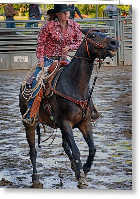 Rodeo Greeting Cards -  Breaking Of The String Greeting Card by Gary Keesler