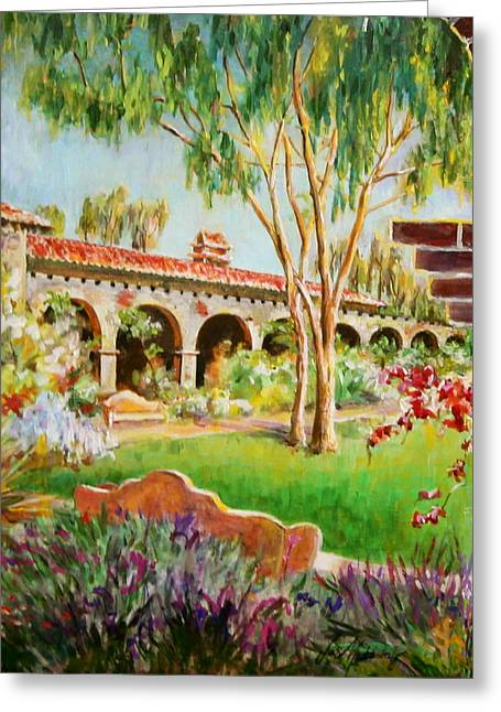 Cement Court Greeting Cards -  Brick Archway at Mission San Juan Capistrano Greeting Card by Jan Mecklenburg