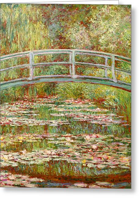 Bridge Over A Lake Greeting Cards -  Bridge Over a Pond of Water Lilies Greeting Card by Claude Monet
