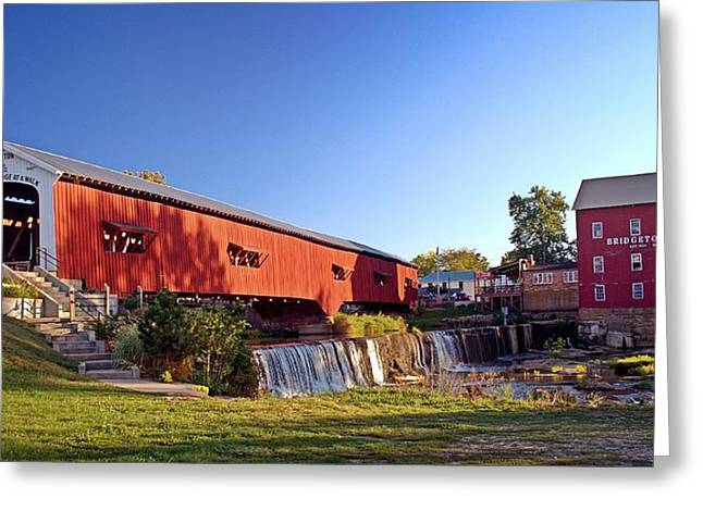 Bridgeton Mill Greeting Cards -  Bridgeton Covered Bridge 2 Greeting Card by Marty Koch