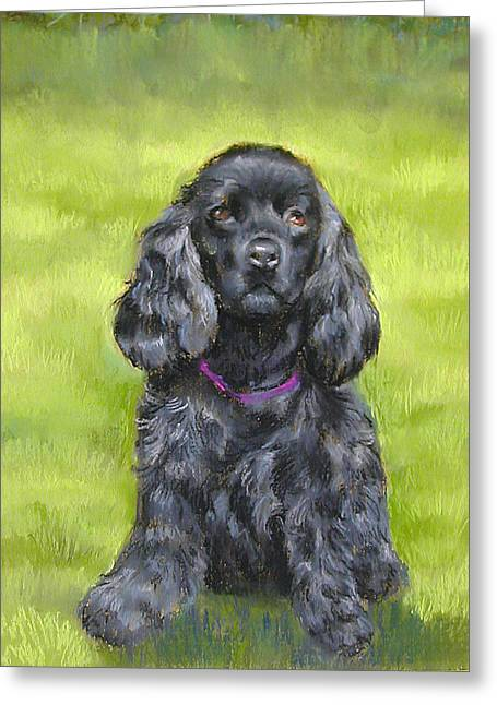 Spaniel Pastels Greeting Cards -  Budwood the Black Cocker Spaniel Greeting Card by Lenore Gaudet