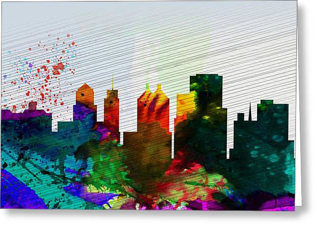 Architectural Paintings Greeting Cards -  Buffalo City Skyline Greeting Card by Naxart Studio