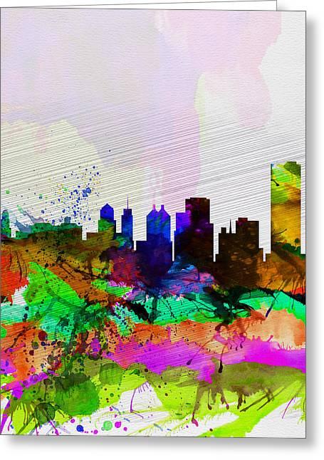 American Buffalo Greeting Cards -  Buffalo Watercolor Skyline Greeting Card by Naxart Studio
