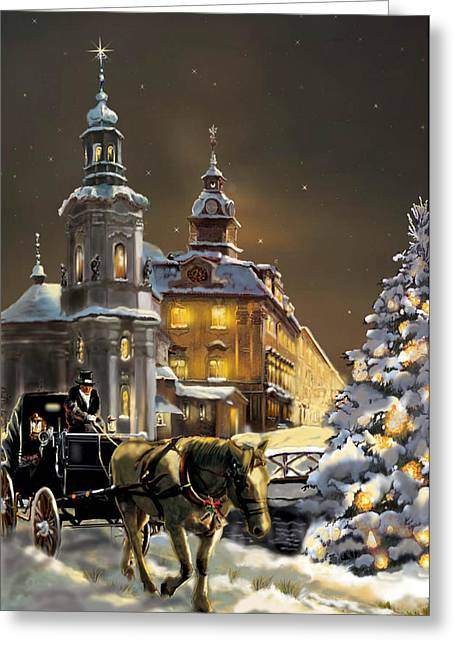Night Scene Prints Greeting Cards -  Buggy and horse at Christmasn the Ukraine Greeting Card by Gina Femrite