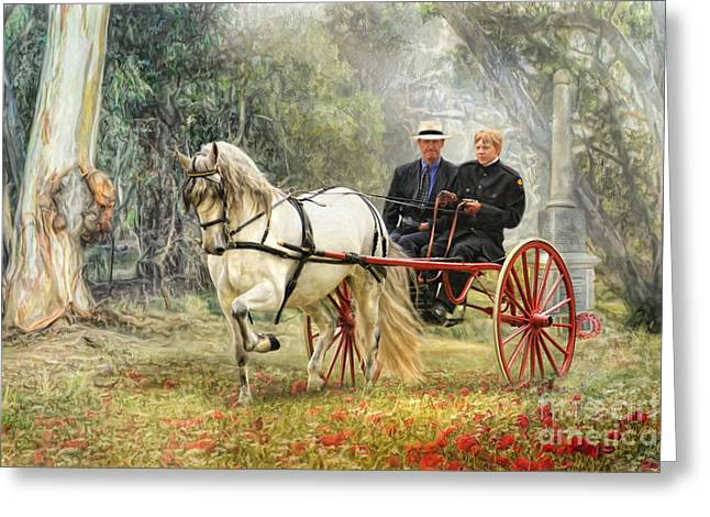 Horse And Cart Greeting Cards -  Bushland Poppies Greeting Card by Trudi Simmonds