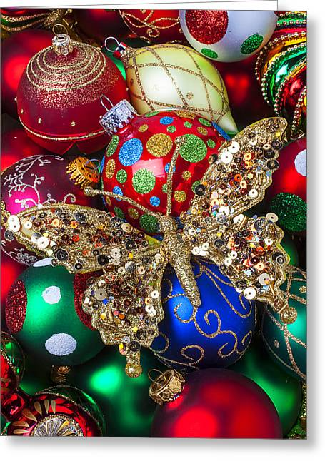 Spheres Greeting Cards -  Butterfly Ornament Greeting Card by Garry Gay