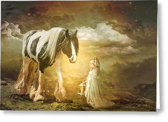 Gypsy Cob Greeting Cards -  By Lantern Light Greeting Card by Trudi Simmonds
