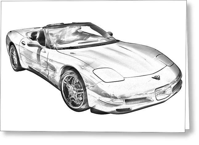 Spectacular Digital Art Greeting Cards -  C5 Corvette convertible Muscle Car Illustration Greeting Card by Keith Webber Jr