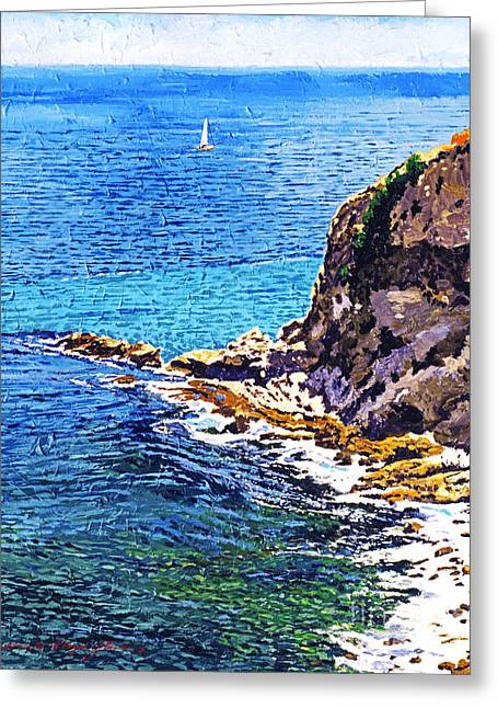 Blue Sailboats Greeting Cards -  California Coastline  Greeting Card by David Lloyd Glover