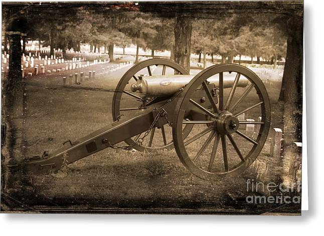 Civil War Battle Site Greeting Cards -  Cannon at Cemetery Greeting Card by Connie Mueller