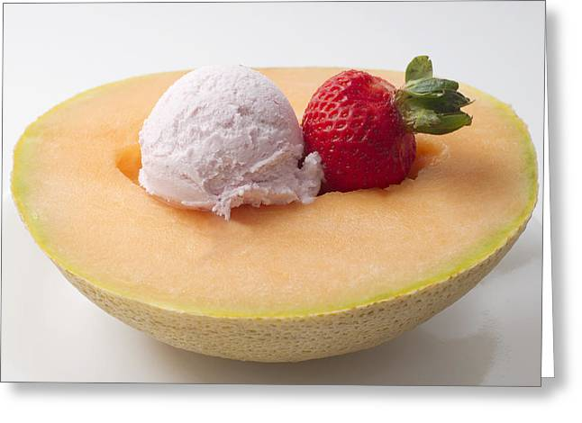 Cantaloupe Greeting Cards -  Cantaloupe with Ice Cream and Strawberry Greeting Card by Donald  Erickson