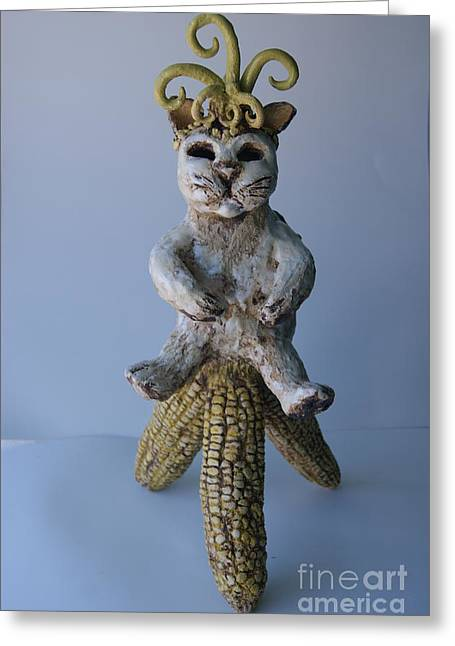 Sculpture. Ceramics Greeting Cards -  Cat of fertility Greeting Card by Susan  Brown    Slizys art signature name