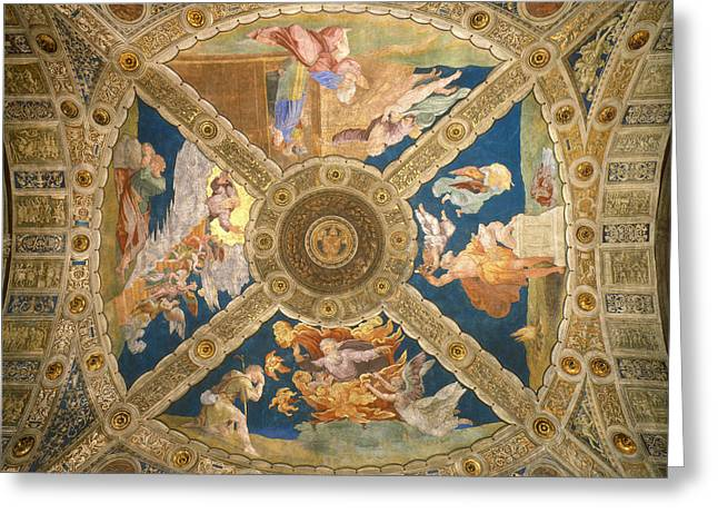 Stanza Greeting Cards -  Ceiling of the Stanza di Eliodoro. Greeting Card by Raphael
