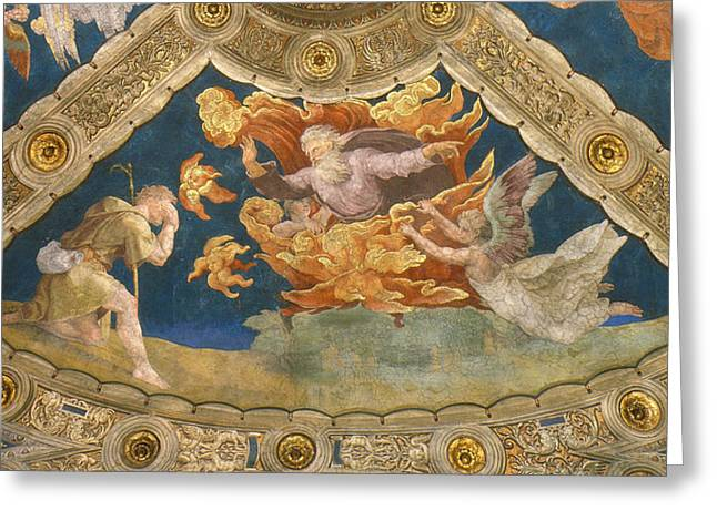 Stanza Greeting Cards -  Ceiling of the Stanza di Eliodoro.Detail Greeting Card by Raphael