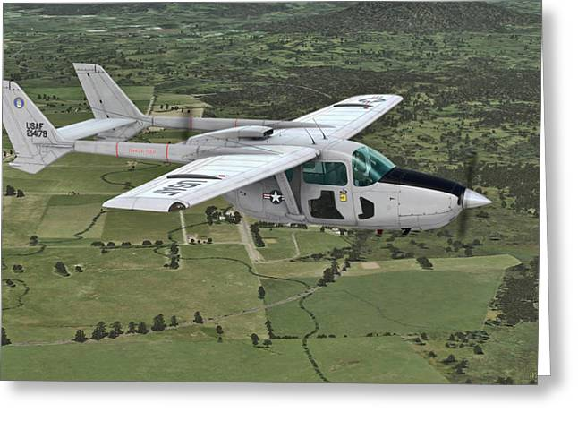 Usaf Mixed Media Greeting Cards -  Cessna 0-2A Skymaster Greeting Card by Walter Colvin