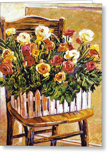 Flower Boxes Paintings Greeting Cards -  Chair Of Flowers Greeting Card by David Lloyd Glover