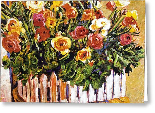 CHAIR OF FLOWERS Greeting Card by David Lloyd Glover