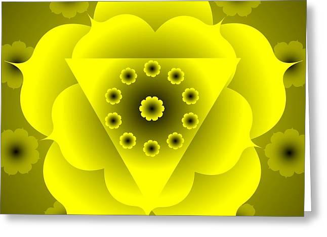 Chakra Rainbow Digital Art Greeting Cards -  Chakra Mandala  Manipura  3rd Chakra Greeting Card by Sarah  Niebank