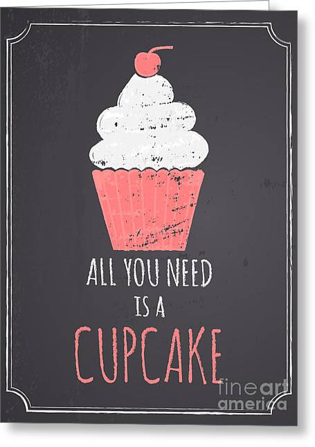 Bakery Poster Greeting Cards -  Chalkboard Cupcake Design Greeting Card by Iveta Angelova
