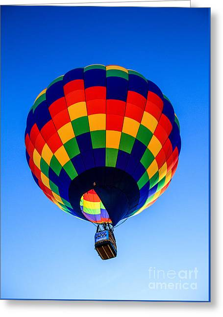 Checkered  Colored Hot Air Balloon  Greeting Card by Robert Bales