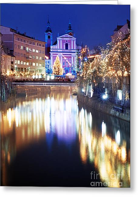 Emona Greeting Cards -  Christmas decorated  Ljubljana Town Greeting Card by Ladi  Kirn