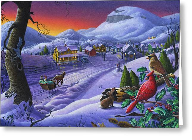 Winter Scenes Rural Scenes Greeting Cards -  Christmas Sleigh Ride Winter Landscape Oil Painting - Cardinals Country Farm - Small Town Folk Art Greeting Card by Walt Curlee