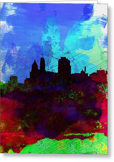 United States Capital Greeting Cards -  Cincinnati Watercolor Skyline Greeting Card by Naxart Studio