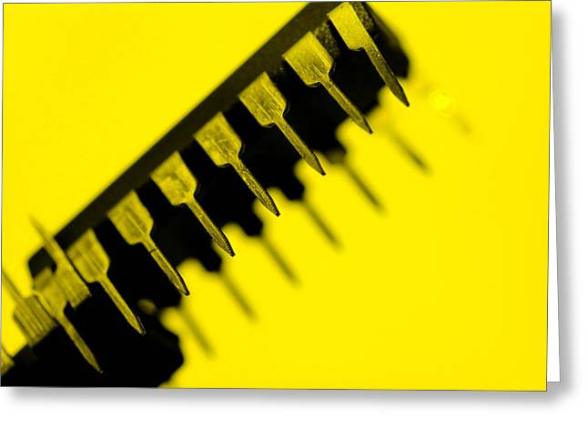 Hardware Greeting Cards -  Circuit With Yellow Tone Macro Greeting Card by Toppart Sweden