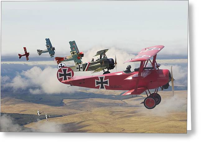 Biplane Greeting Cards -  Circus comes to Town Greeting Card by Pat Speirs