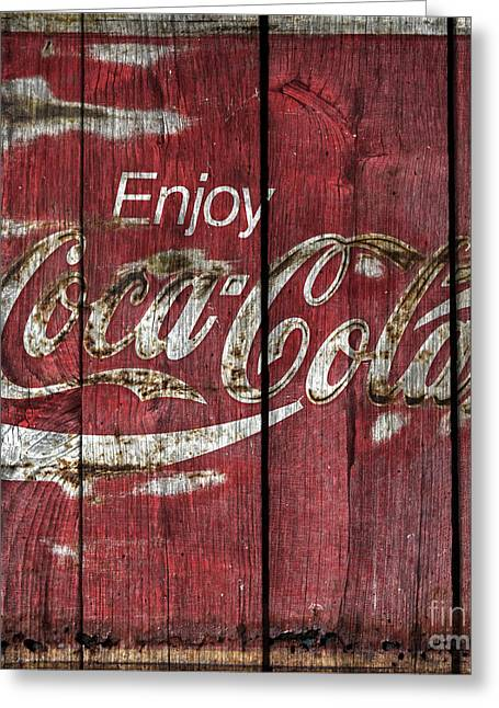 Coca-cola Sign Greeting Cards -  Coca Cola Sign Barn Wood Greeting Card by John Stephens