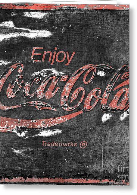 Closeup Coca Cola Sign Greeting Cards -  Coca Cola Sign Faded Grunge Greeting Card by John Stephens