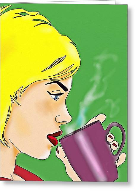 Coffee Drinking Greeting Cards -  Coffee Break Greeting Card by Helen Bowman