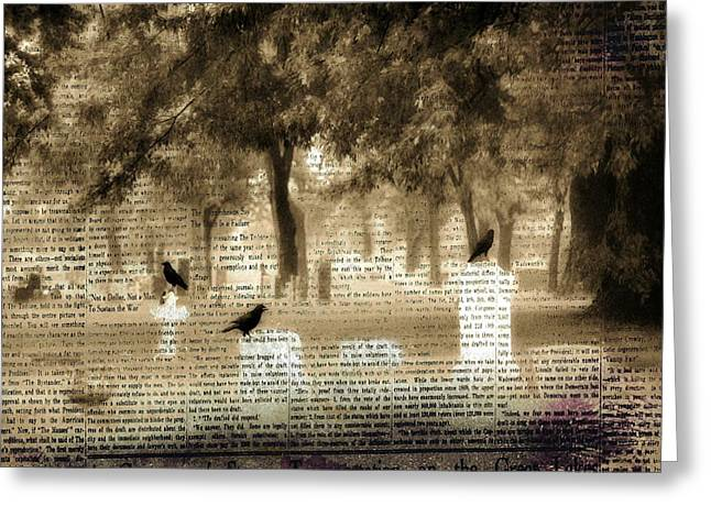 Crows On Tombstones Greeting Cards -  Collage Of Goth Greeting Card by Gothicolors Donna Snyder