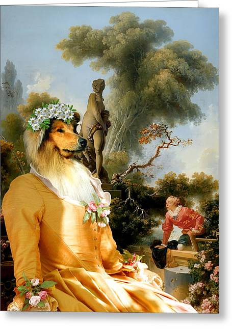 Collie Greeting Cards -  Collie Rough - Rough Collie Art Canvas Print Greeting Card by Sandra Sij