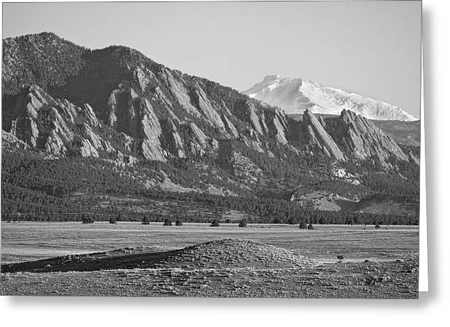 Meeker Greeting Cards -  Colorado Rocky Mountains Flatirons with Snow Covered Twin Peaks Greeting Card by James BO  Insogna