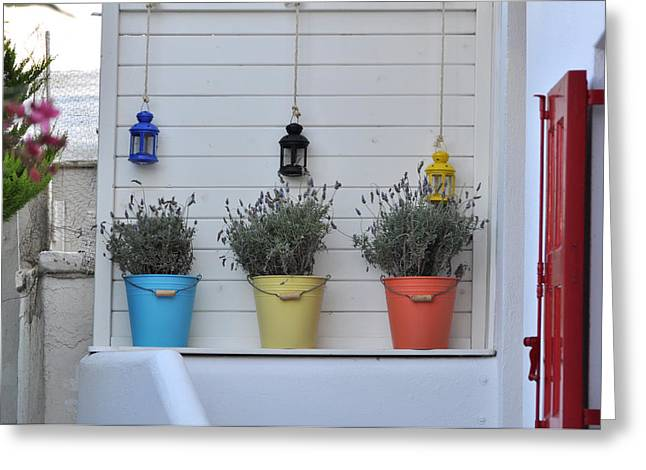 Colored Pails Greeting Card by Kathy Schumann