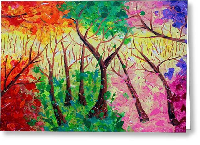Colorful Mystical Forest Greeting Card by Julia Apostolova