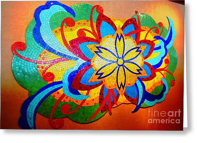 Colorful Tile Abstract Greeting Card by Judy Palkimas