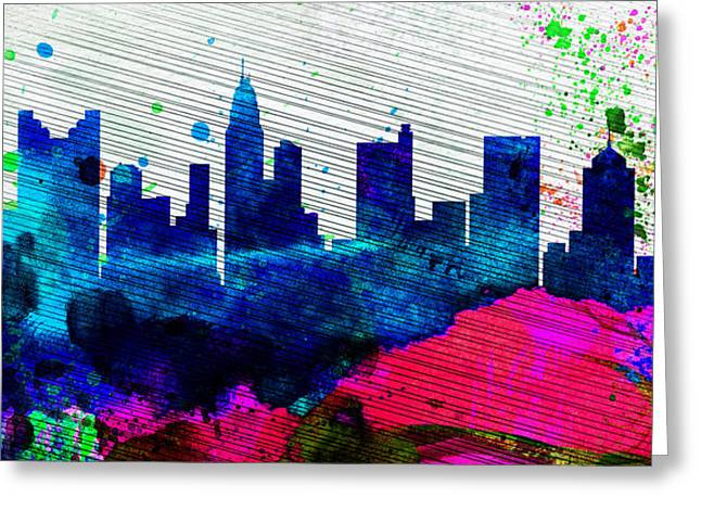 Columbus Greeting Cards -  Columbus City Skyline Greeting Card by Naxart Studio