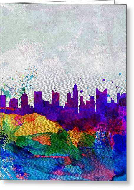 Columbus Greeting Cards -  Columbus Watercolor Skyline Greeting Card by Naxart Studio