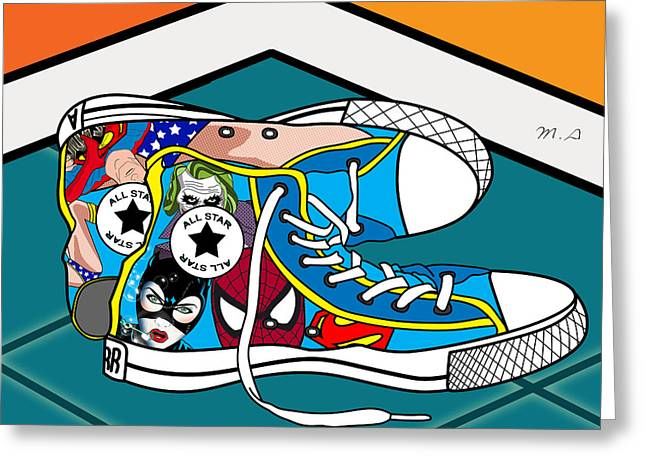 Super Stars Greeting Cards -  Comics Shoes Greeting Card by Mark Ashkenazi