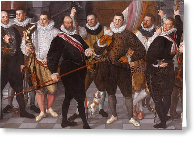 Cornelis Jacobsz Greeting Cards -  Company of Captain Dirck Jacobsz Rosecrans and Lieutenant Pauw. Amsterdam Greeting Card by Cornelis Ketel