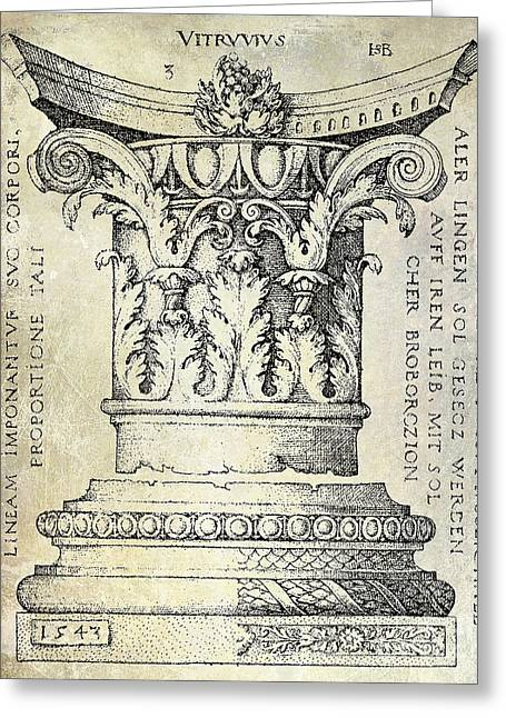 Patent Drawing Drawings Greeting Cards -  Corinthian Column Greeting Card by Jon Neidert