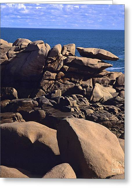 Up-armored Greeting Cards -  Cotes dArmor. cote de granit rose .pink granite coast. Brittany. France Greeting Card by Bernard Jaubert
