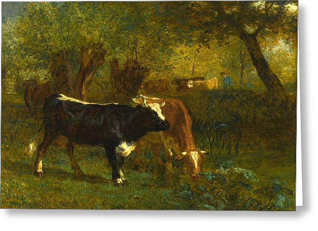 Constant Greeting Cards -  Cows at a Fountain Greeting Card by Constant Troyon