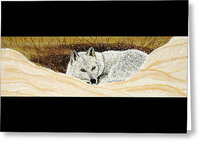 Wolf Greeting Cards -  Cozy-Up Greeting Card by Debbie Chamberlin